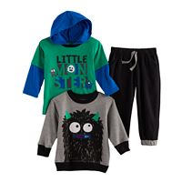 Baby Boy Nannette 3-pc. Monster Hooded Tee, Pullover Sweatshirt & Pants Set