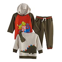 Baby Boy Nannette 3 pc Dinosaur Hooded Tee, Pullover Sweatshirt & Pants Set