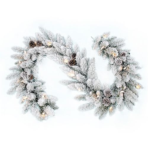 Flocked Pine Cone LED Artificial Christmas Garland