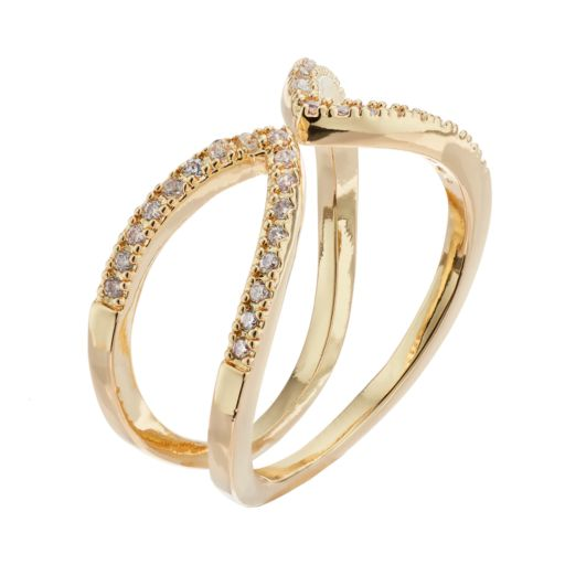 LC Lauren Conrad Simulated Crystal Open Ring