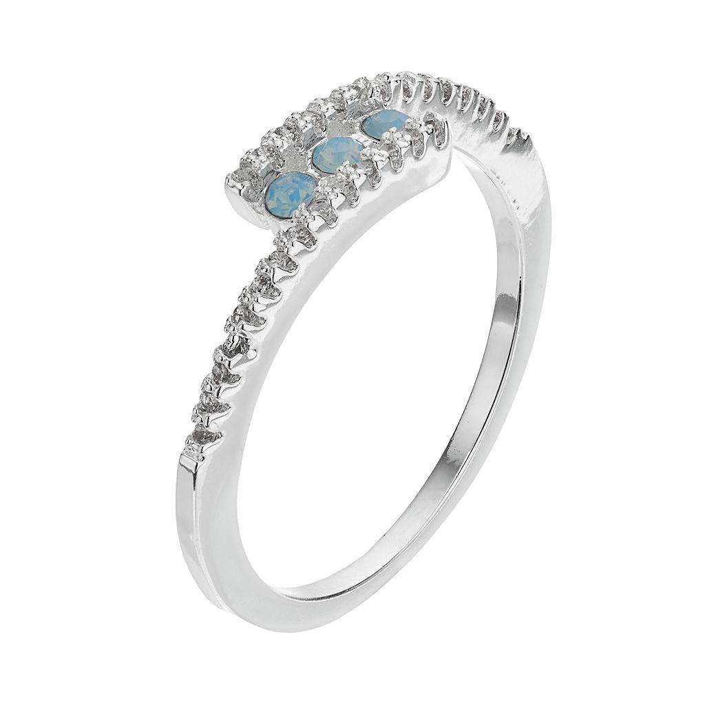LC Lauren Conrad Simulated Crystal Blue Bypass Ring