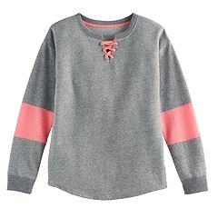 Girls 7-16 SO® French Terry Glitter Lace-Up Pullover