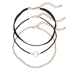 GS by gemma simone Black Circle Link & Beaded Choker Necklace Set