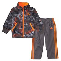 Baby Boy adidas Orange Abstract Fusion Zip Jacket & Pants Set