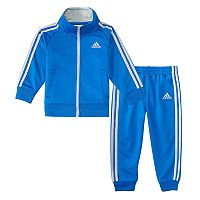 Baby Boy adidas Blue Striped Jacket & Pants Set