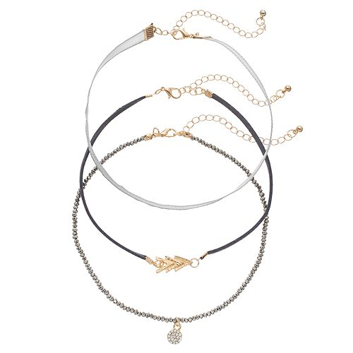 GS by gemma simone Chevron & Beaded Choker Necklace Set