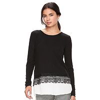 Women's ELLE™ Lace Trim Mock-Layer Top