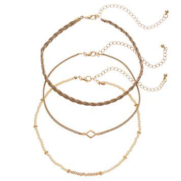 GS by gemma simone Beaded & Braided Choker Necklace Set