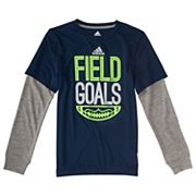 Toddler Boy adidas 'Field Goals' Football Mock Layer Tee