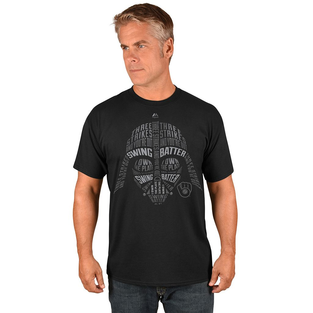 Men's Majestic Milwaukee Brewers Star Wars Darth Vader Tee