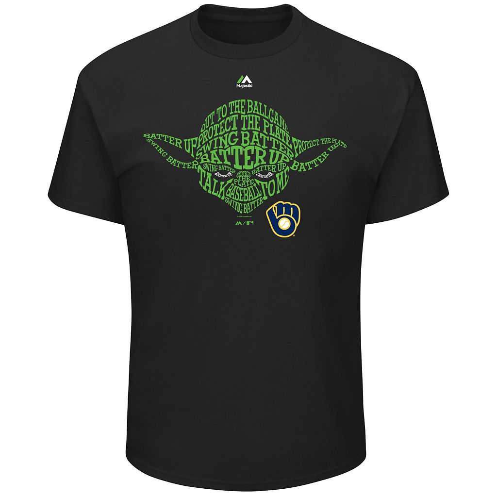 Men's Majestic Milwaukee Brewers Star Wars Yoda Tee