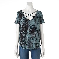 Women's Rock & Republic® Crisscross Tie-Dye Tee