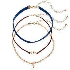 GS by gemma simone Crescent, Circle Link & Denim Choker Necklace Set