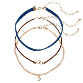 GS by gemma simone Crescent, Circle Link & Denim Choker Necklace Set