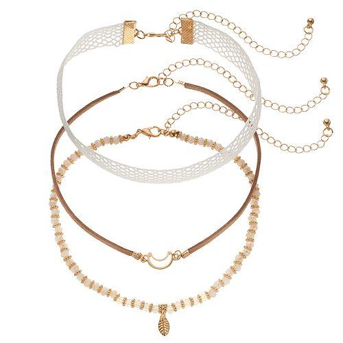 GS by gemma simone Lace, Leaf & Crescent Choker Necklace Set