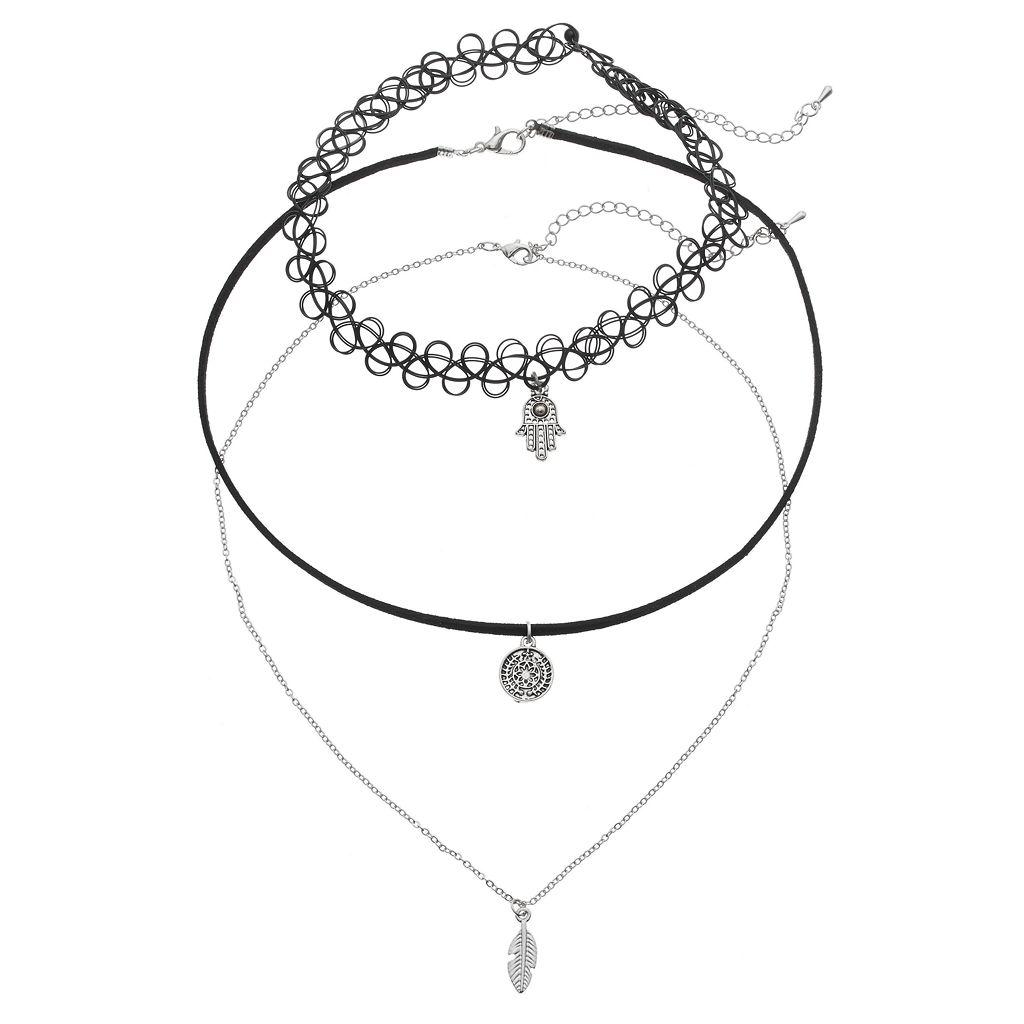 GS by gemma simone Leaf, Hamsa & Medallion Charm Choker Necklace Set