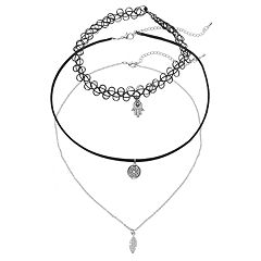 GS by gemma simone Leaf, Hamsa & Medallion Charm Choker Necklace Set