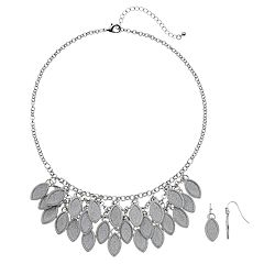 Glitter Marquise Necklace & Drop Earring Set