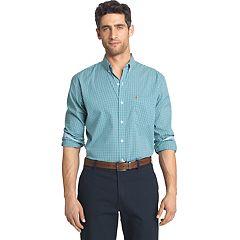 Big & Tall Men's IZOD Slim-Fit Gingham-Checked Stretch Button-Down Shirt