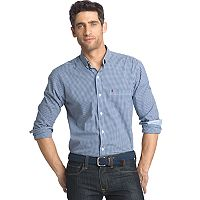 Big & Tall Men's IZOD Slim-Fit Gingham-Checked Stretch Button-Down Shirt