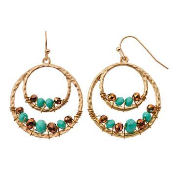 GS by gemma simone Hammered Nickel Free Beaded Drop Hoop Earrings