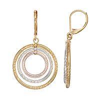 Napier Tri Tone Textured Circle Drop Earrings