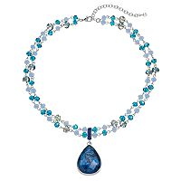 Napier Blue Beaded Double Strand Teardrop Pendant Necklace