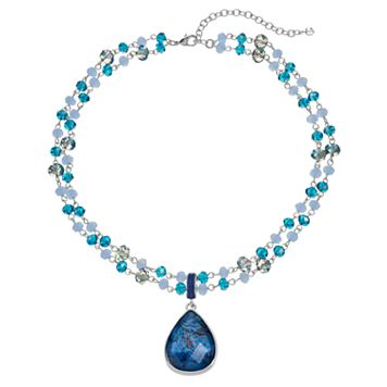 Napier Blue Beaded Double Strand Teardrop Pendant Necklace