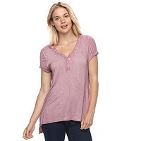 Juniors' Cloud Chaser Grommet Henley Top