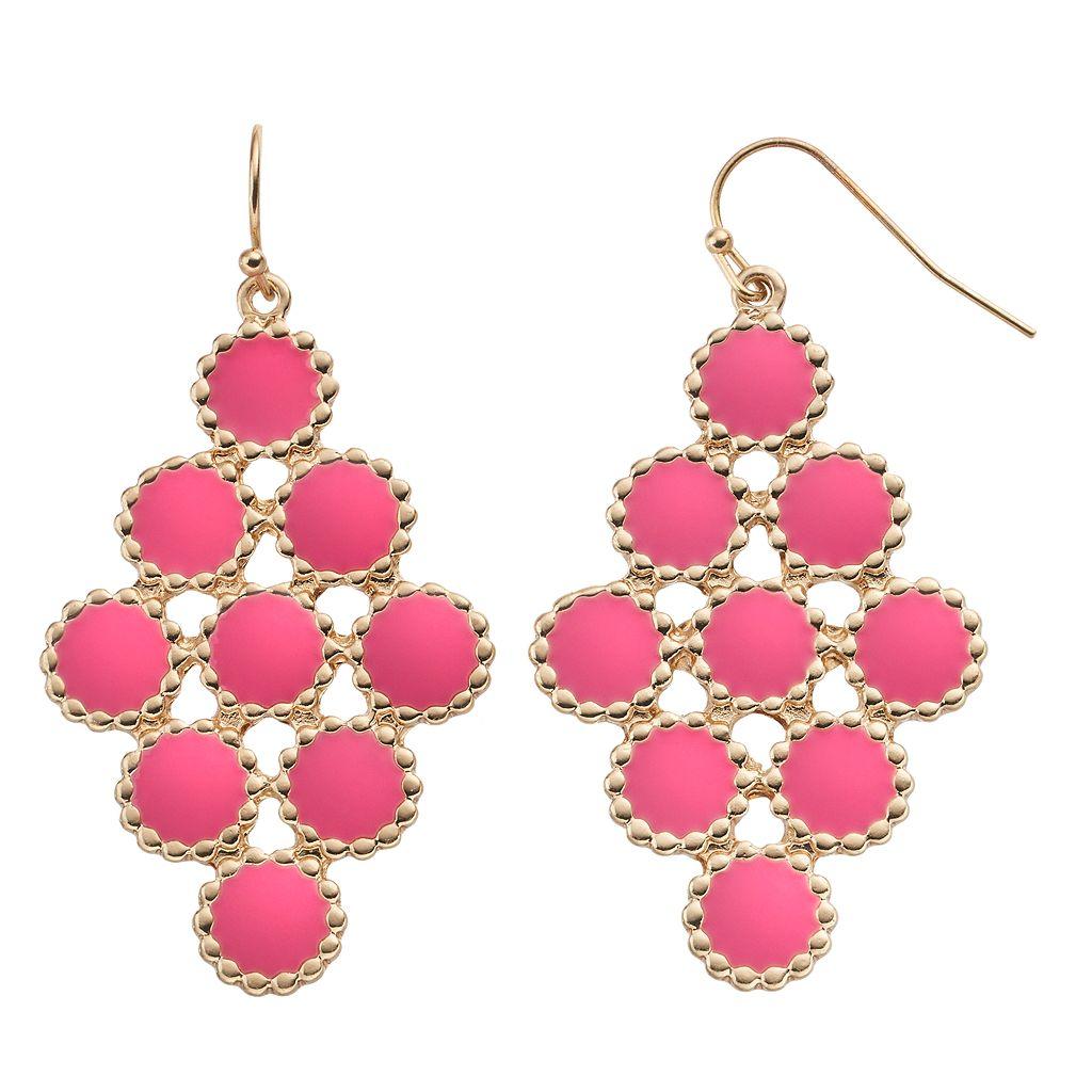 GS by gemma simone Pink Circle Nickel Free Kite Earrings