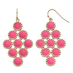 GS by gemma simone Pink Circle Nickel Free Kite Earrings
