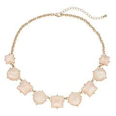 Light Pink Geometric Statement Necklace