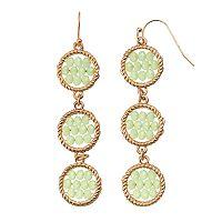 GS by gemma simone Woven Circle Nickel Free Linear Drop Earrings