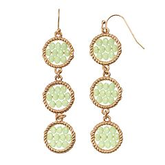 GS by gemma simone Woven Circle Nickel Free Linear Drop Earrings