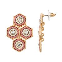 GS by gemma simone Pink Hexagon Nickel Free Kite Earrings