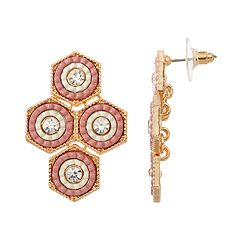GS by gemma simone Pink Hexagon Nickel Free Kite Earrings
