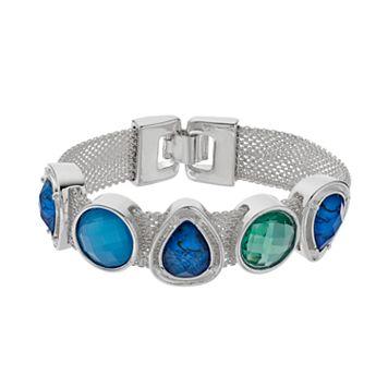 Napier Blue Geometric Stone Mesh Bracelet