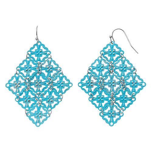 GS by gemma simone Blue Quatrefoil Nickel Free Kite Earrings