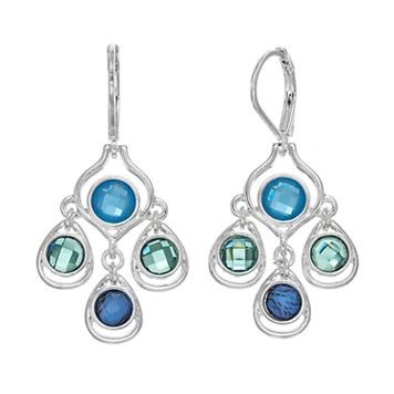 Napier Blue Round Stone Kite Earrings