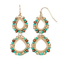 GS by gemma simone Beaded Nickel Free Double Teardrop Earrings