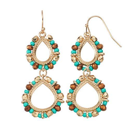 GS by gemma simone Beaded Nickel Free Double Teardrop Earrings