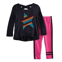 Toddler Girl Freestyle Revolution Striped Glitter Star & Striped Leggings Set