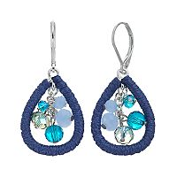 Napier Blue Beaded Cluster Threaded Teardrop Earrings