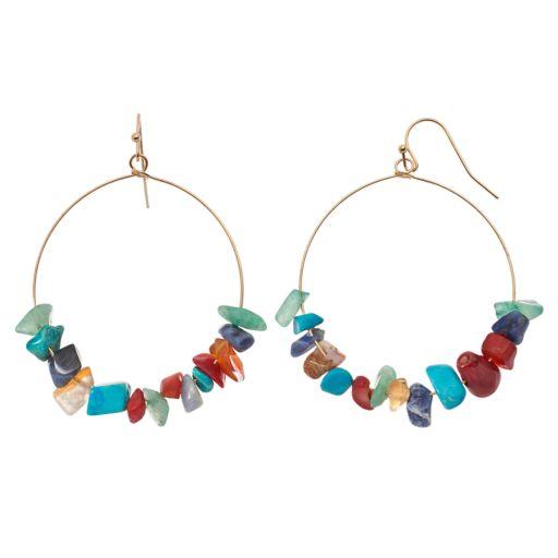 GS by gemma simone Stone Bead Nickel Free Drop Hoop Earrings