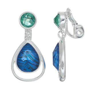 Napier Blue Clip On Teardrop Earrings