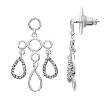 LC Lauren Conrad Nickel Free Open Teardrop Chandelier Statement Earrings