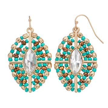 GS by gemma simone Beaded Marquise Nickel Free Drop Earrings