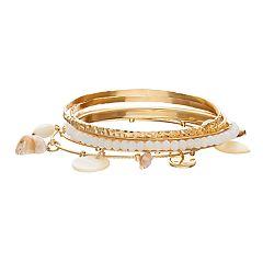 Beaded, Charm & Textured Bangle Bracelet Set