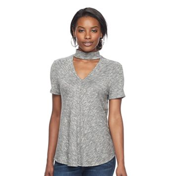 Women's Juicy Couture Marled Choker Neck Tee