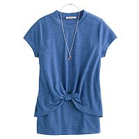 Girls 7-16 DJ & JUJU Twist Front Tee with Necklace
